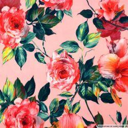 Crêpe polyester imprimé roseraie fond rose