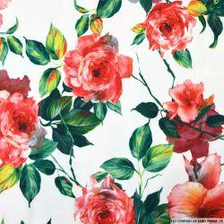 Crêpe polyester imprimé roseraie fond blanc