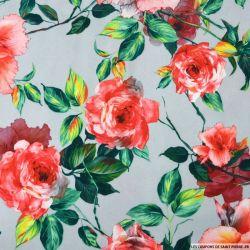 Crêpe polyester imprimé roseraie fond gris perle