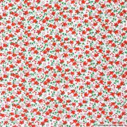 Microfibre imprimée petites fleurs rouges fond blanc