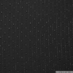 Mousseline plumetis polyester rayée irisée noir
