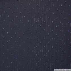 Mousseline plumetis polyester rayée irisée marine