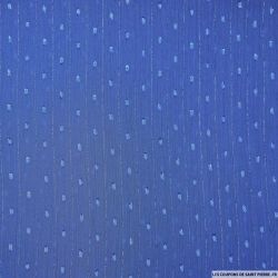 Mousseline plumetis polyester rayée irisée bleu denim