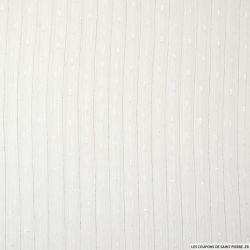 Mousseline plumetis polyester rayée irisée blanc