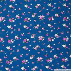 Viscose imprimée fleuris fond bleu