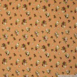 Viscose imprimée fleuris fond camel