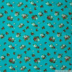 Viscose imprimée fleuris fond turquoise