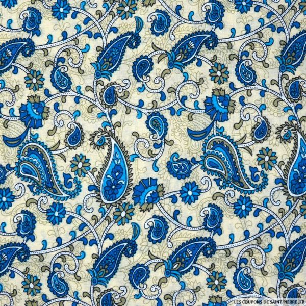 Viscose imprimée cachemire bleu