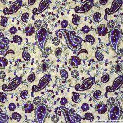 Viscose imprimée cachemire violet