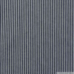 Chambray de coton rayé bleu
