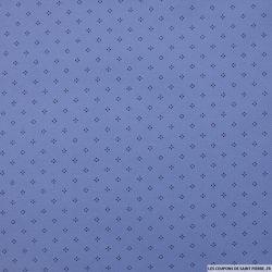 Maille polo coton à pois bleu
