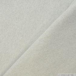 Molleton coton lurex argent fond blanc cassé