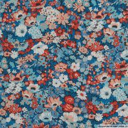 Coton liberty ® Thorpe Hill orange et bleu au mètre