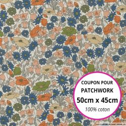 Coton liberty ® Poppy Forest Bronze - Coupon 50x45cm