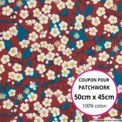 Coton liberty ® Mitsi bordeaux - Coupon 50x45cm
