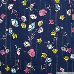 Crépon viscose fleurs coupées fond marine rayé lurex or