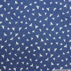 Chambray de coton imprimé papillon fond bleu
