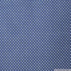 Chambray de coton imprimé à pois fond bleu