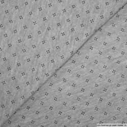 Maille polo coton à pois gris