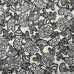 Viscose imprimée Anémone gris perle