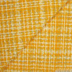 Tweed polyester fantaisie curry rayé blanc et fils irisés