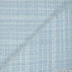 Tweed polyester fantaisie ciel rayé blanc et fils irisés