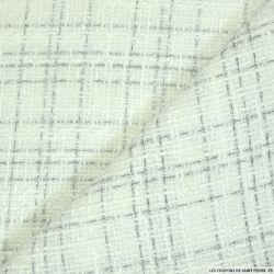 Tweed polyester fantaisie vert d'eau rayé blanc et fils irisés
