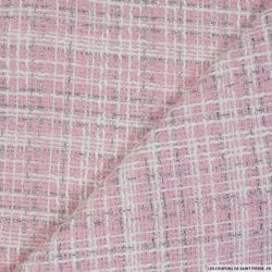Tweed polyester fantaisie rose rayé blanc et fils irisés