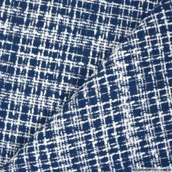 Tweed polyester fantaisie marine rayé blanc et fils irisés