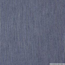 Chambray de coton fines rayures bleu foncé