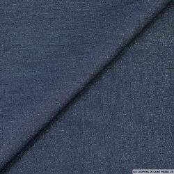 Chambray de polycoton rayures lurex bleu foncé