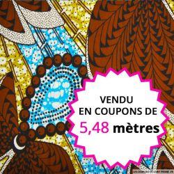 Wax africain palmier marron, vendu en coupon de 5,48 mètres