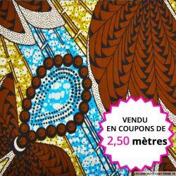 Wax africain palmier marron, vendu en coupon de 2,50 mètres