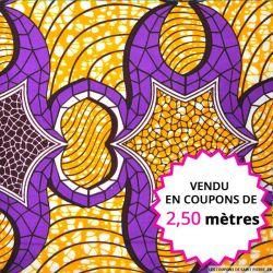 Wax africain orange et violet, vendu en coupon de 2,50 mètres