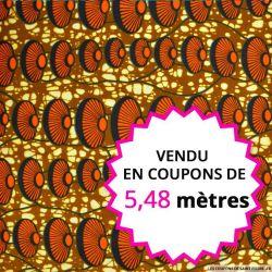 Wax africain coquillage orange, vendu en coupon de 5,48 mètres