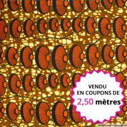 Wax africain coquillage orange, vendu en coupon de 2,50 mètres