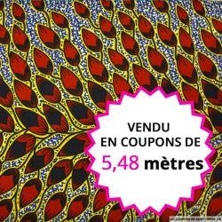 Wax africain feuillage bordeaux contour jaune, vendu en coupon de 5,48 mètres