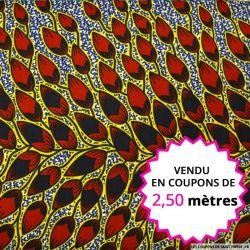 Wax africain feuillages bordeaux contour jaune, vendu en coupon de 2,50 mètres