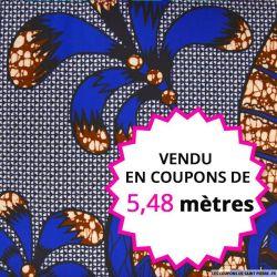 Wax africain feuillage Plage bleu, vendu en coupon de 5,48 mètres