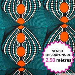 Wax africain ovales orange fond vert, vendu en coupon de 2,50 mètres