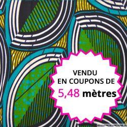 Wax africain oeil fond vert, vendu en coupon de 5,48 mètres