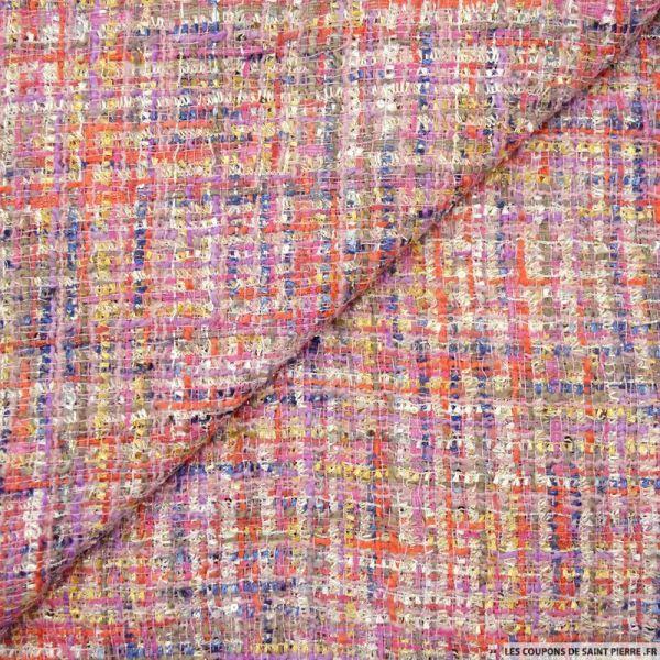Tweed polyester fantaisie fuchsia multicolore et fils irisés