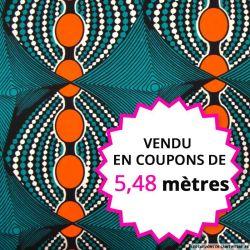 Wax africain ovales orange fond vert, vendu en coupon de 5,48 mètres