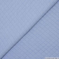 Jersey matelassé polycoton bleu ciel