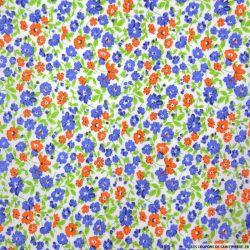 Coton imprimé fleurs bleu et orange