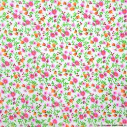 Coton imprimé fleurs rose et vert