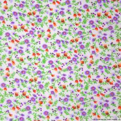 Coton imprimé fleurs violet et vert