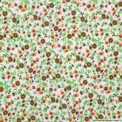 Coton imprimé fleurs marron et vert