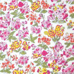 Coton imprimé fleurs rose et jaune