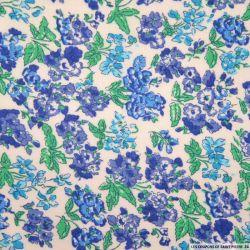 Coton imprimé fleurs bleu et vert